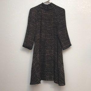 H&M chiffon ruffle neck dress